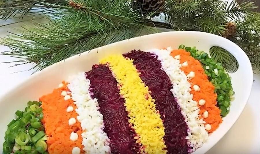 Селёдка под шубой «Праздничная радуга»